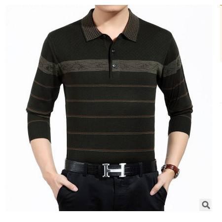 中老年翻领条纹薄款羊毛体恤衫爸爸春秋装新款中年长袖T恤男 莫菲