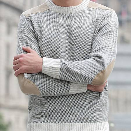 中年休闲男装圆领贴布粗纺羊毛衫 加厚男式线衫秋冬新款男士毛衣莫菲包邮