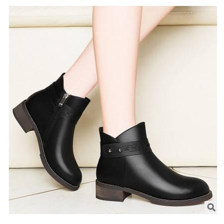 2016新款中跟女靴加绒防滑高跟鞋粗跟短筒马丁靴 短靴女鞋冬季靴子莱卡金顿包邮