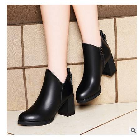 圆头粗跟短靴防水台女鞋子秋季新款纯色侧拉链女靴子莱卡金顿包邮
