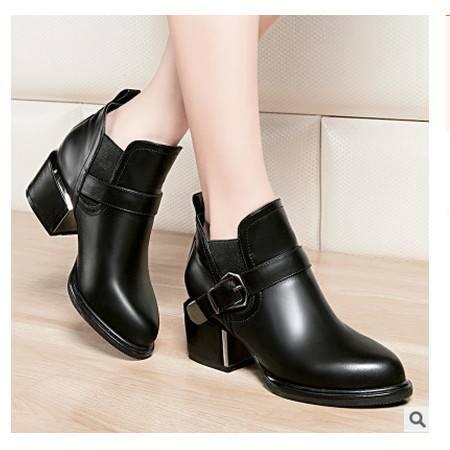 中跟尖头英伦单鞋马丁靴秋季女鞋 短靴短筒女靴子莱卡金顿包邮
