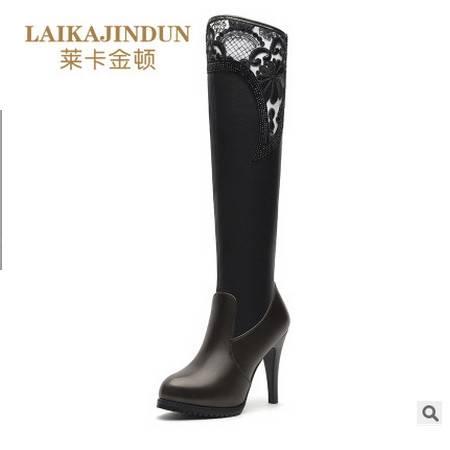 水钻套筒女长靴 高跟防水台女鞋子 圆头细跟长筒靴莱卡金顿 包邮