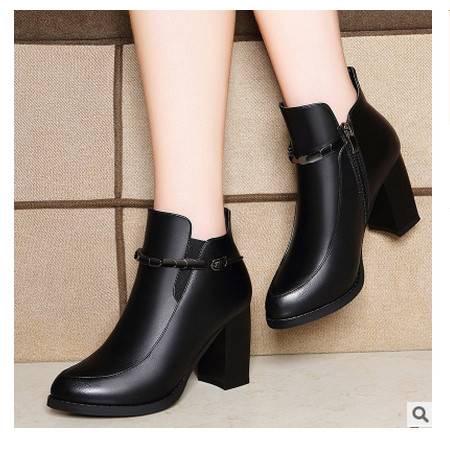 侧拉链圆头短靴 防水台女鞋子方跟纯色女靴子莱卡金顿 包邮