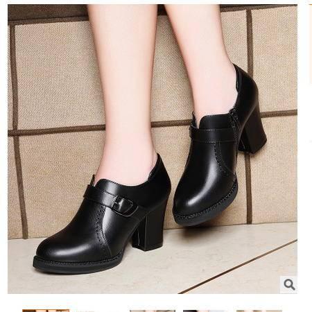英伦皮鞋休闲百搭秋鞋单鞋女秋季新款中跟女鞋粗跟圆头高跟鞋莱卡金顿包邮