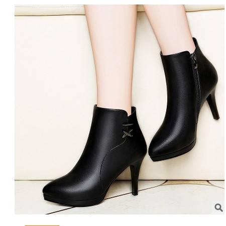 细跟纯色女短靴 防水台女鞋子 圆头侧拉链女靴子莱卡金顿 包邮