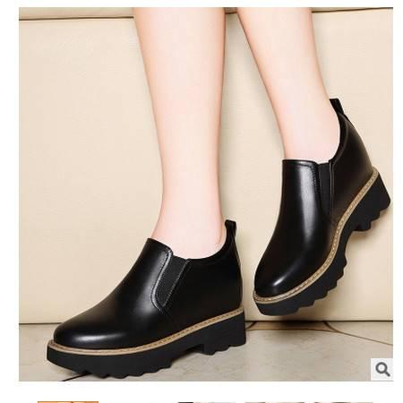 英伦圆头套脚粗跟秋鞋防水台内增高单鞋秋季新款女鞋莱卡金顿 包邮