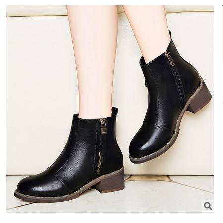 侧拉链粗跟女短靴 防水台女鞋圆头纯色女靴子莱卡金顿 包邮