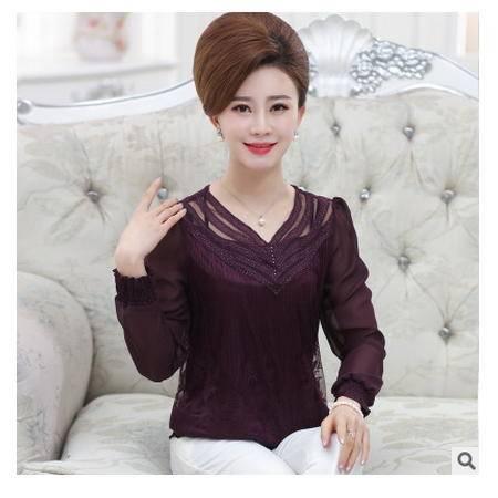 中年夏装雪纺衫妈妈装镂空T恤新款中老年女装春装网纱蕾丝衫大码艾丽莎