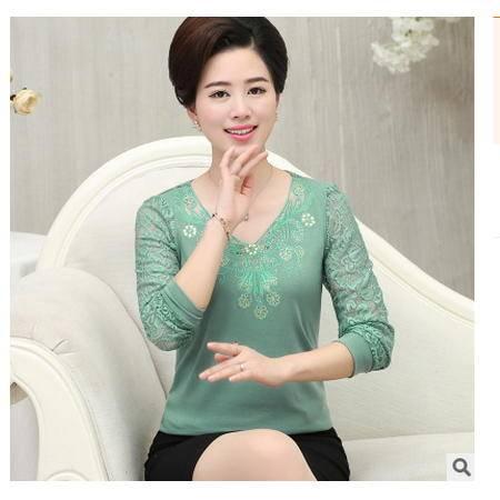 40-50岁妈妈装长袖T恤中年妇女上衣蕾丝衫中年老女装春秋装打底衫艾丽莎