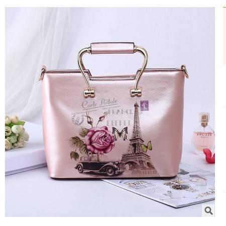 女士定型包包欧美时尚手提单肩斜跨包大包花朵印花手提包安雅包邮