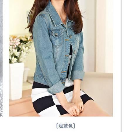 新款修身猫须做旧口袋短款韩版短外套 牛仔外套女长袖简曼