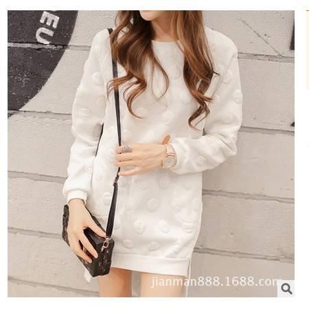宽松立体波点图案休闲卫衣连衣裙新款韩版大码女装简曼