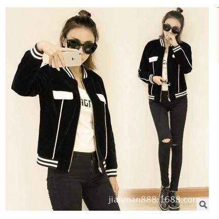 新款黑色休闲夹克衫秋季短款小外套韩版宽松棒球服女装简曼