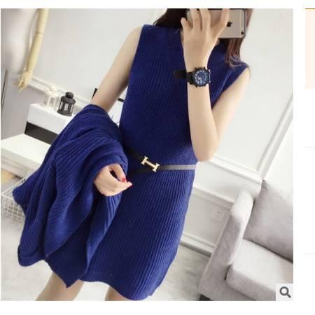 长款时尚针织套装秋装女装2016新款潮韩版毛衣两件套女秋季外套简曼