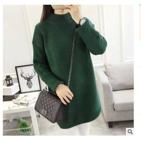 套头宽松韩版高领线衣冬装加厚衣服外套潮冬季中长款毛衣裙女简曼