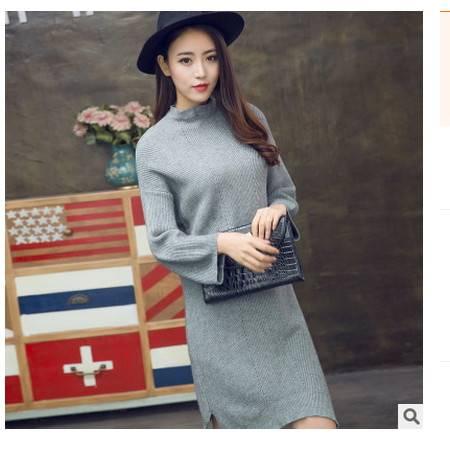 圆领套头大码纯色打底衫毛衣女秋冬新款女士中长款修身显瘦针织衫简曼