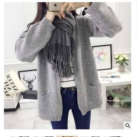 毛衣宽松大码外套纯色复古韩版小清新圆领针织衫开衫女简曼