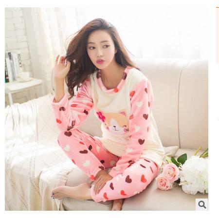加厚法兰绒家居服套装韩版女士圆领套头卡通春秋长袖女士睡衣旭宏睡衣