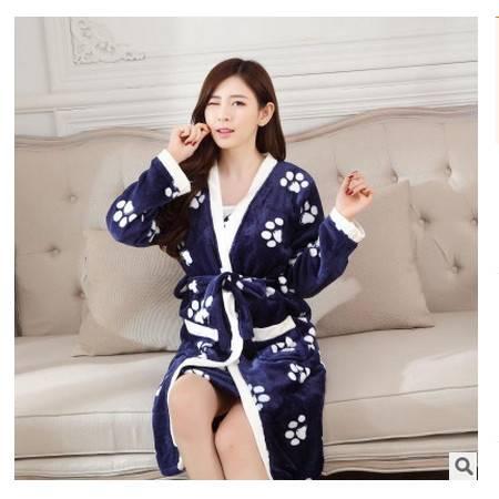 舒适吊带V领外穿保暖少女家居服冬冬季加厚女士法兰绒睡袍两件套旭宏睡衣