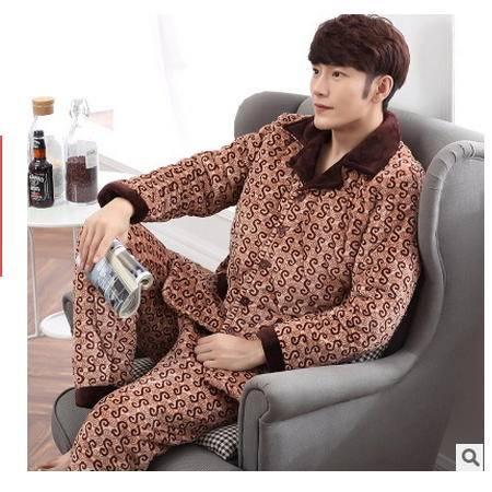 开衫外穿抗寒中年家居服男男士冬季加厚三层法兰绒夹棉保暖睡衣 旭宏睡衣包邮