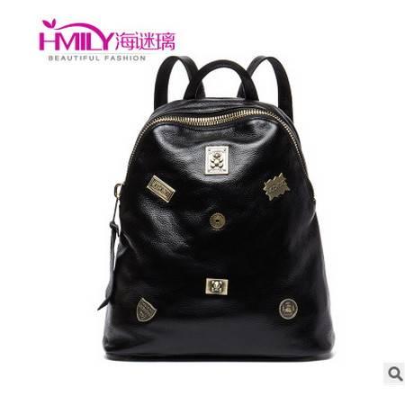 黑色旅行背包新款韩版时尚牛皮情侣双肩包丹爵 包邮