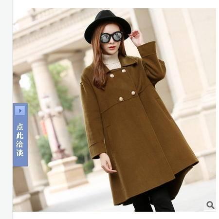 纯手工高端气质双面羊毛绒大衣秋冬装新款女中长款毛呢外套永飞包邮