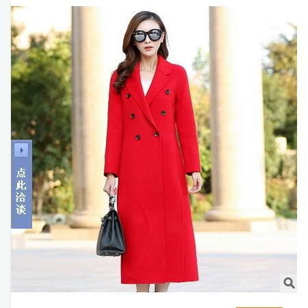 韩版长袖双面呢外套中长款翻领毛大衣秋冬新款呢子大衣永飞包邮