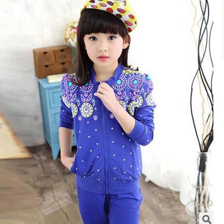 秋装新款童装女童运动套装韩版中大儿童休闲两件套怡衣