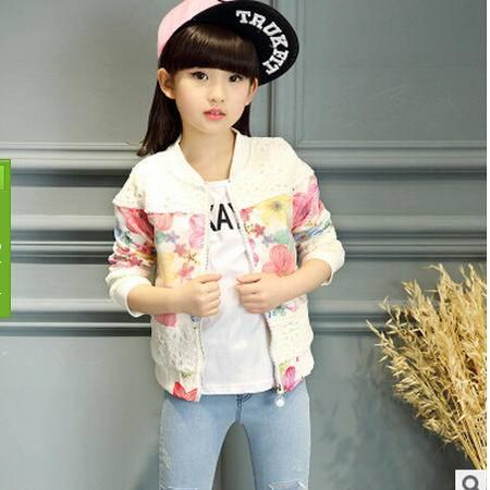 童装女童2016春秋新款小女孩镂空花外套韩版中大童长袖拉链衫怡衣