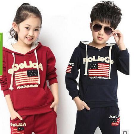 童装秋款儿童男童女童纯棉韩版套装卫衣连帽运动两件套潮怡衣