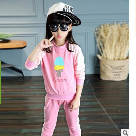秋装新款童装 女童冰淇淋卡通套装 中大童纯棉运动套装怡衣