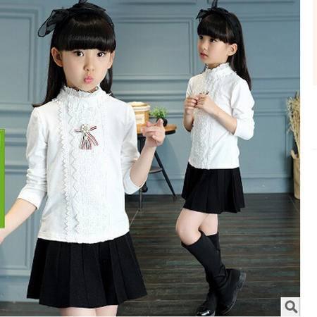 童装秋款女童长袖小学生秋季棉t袖衫中大童纯色木耳边女童T恤怡衣