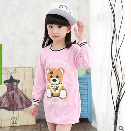 童装女童秋款卡通小熊打底衫2016新款小女孩长袖T恤运动休闲上衣怡衣