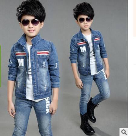 新款童装秋款牛仔套装 儿童中大童秋装 男孩牛仔两件套怡衣