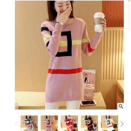 2016冬装新款韩版中长款卷边圆领长袖修身针织衫夹色条纹毛衣粉黛