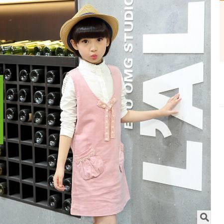 韩版棉女孩短袖公主裙斜口袋背带裙童装女童连衣裙怡衣