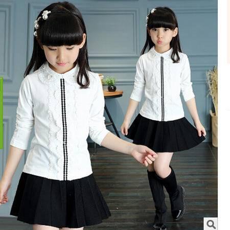 新款韩版中大童翻领公主女孩子蕾丝烫钻娃娃领T恤怡衣