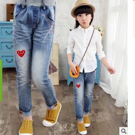 秋款女童牛仔款 中大童爱心图案牛仔裤怡衣
