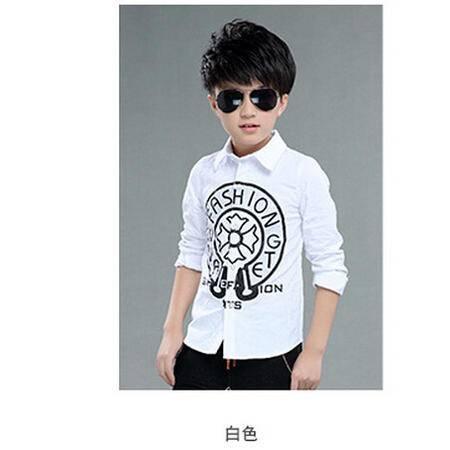 新款男童长袖衬衫中大童儿童纯棉大圆图案男童衬衣怡衣