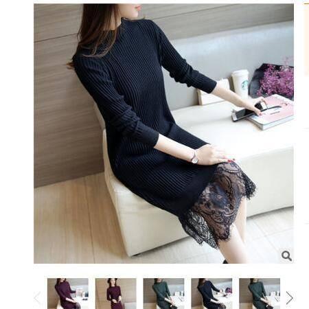 2016韩版秋冬新款女装下摆蕾丝圆领中长打底套头针织衫毛衣女粉黛