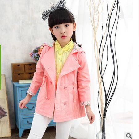 秋季新款纯色纯棉中长款风衣 韩版儿童秋款外套怡衣