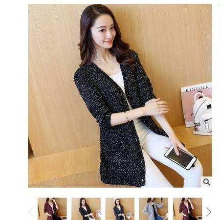 2016秋季新款韩版中长款亮点花纱外套气质宽松女式针织开衫毛衣女粉黛
