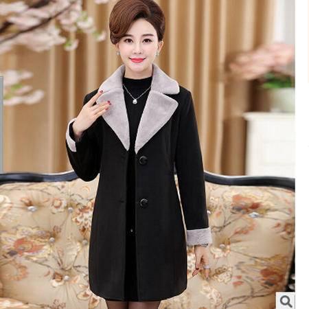 中年妈妈装冬季中长款外套中老年女装冬装翻领外套艾丽莎