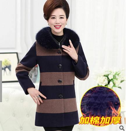 中年人妈妈装毛呢外套中老年女装秋冬装加厚带毛领呢子外套艾丽莎