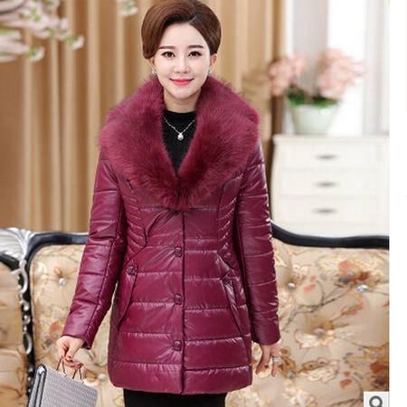 妈妈装大毛领棉衣中老年女装秋冬装外套中年冬季棉服艾丽莎