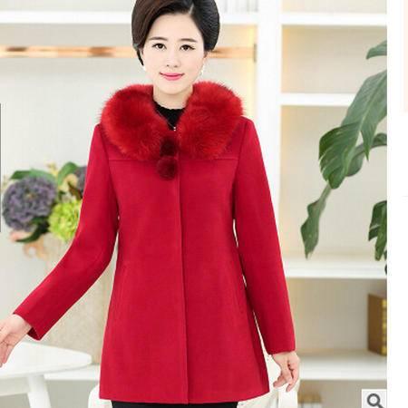 中年人妈妈装呢子外套中老年女装冬装35-45岁带毛领呢子上衣外套艾丽莎