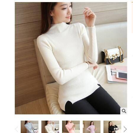 2016韩版秋冬新款女装半高领长袖弹力修身开叉套头打底针织衫毛衣粉黛