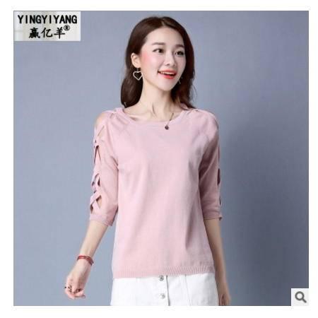纯色圆领甜美修身针织衫新款时尚百搭套头针织女衫洪合