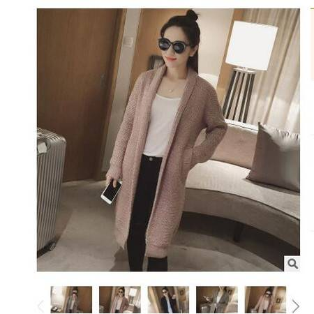 2016韩版秋季新款中长款翻领宽松女式针织开衫外套毛衣女粉黛