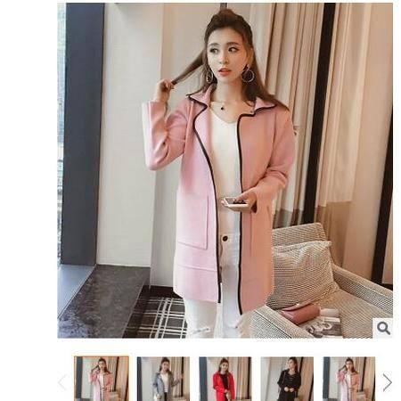 2016秋装新款韩版两翻领中长款风衣外套女式针织开衫毛衣女粉黛